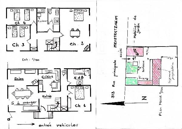 Plan des lieux avec agencement de l'hébergement